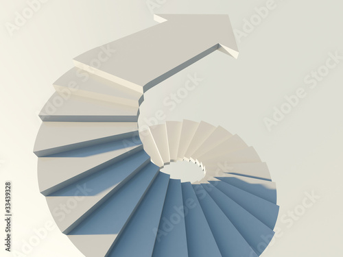 Abstract staircase with arrow symbol of movement