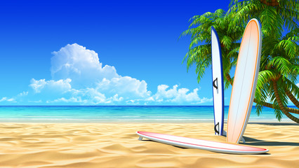 Three surf boards on idyllic tropical sand beach