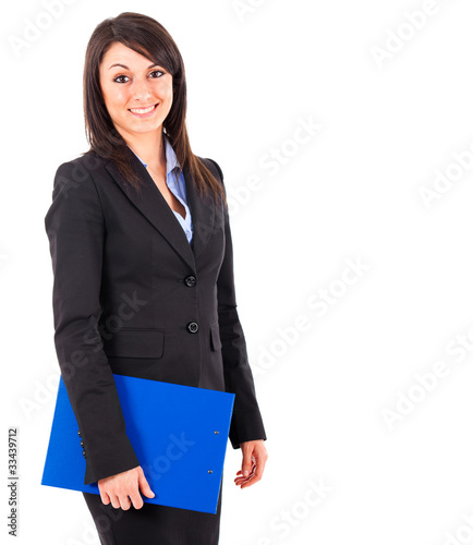 Smiling businesswoman holding some documents