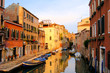 Beautiful canals of Venice at sunset