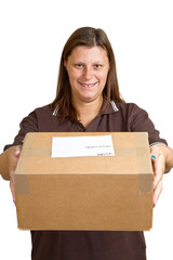 delivery womanwith big parcel