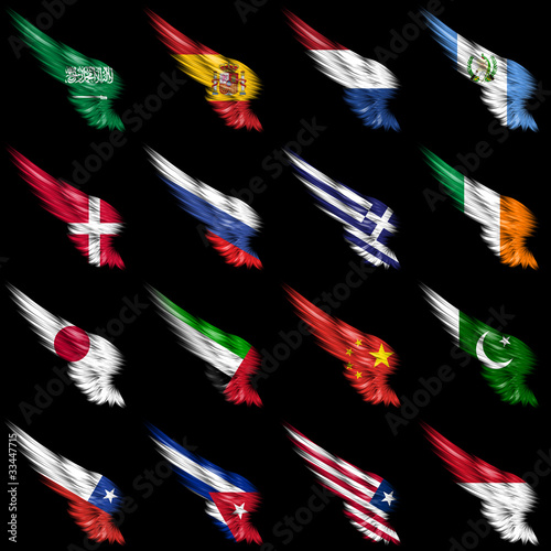 Set of european, african and american flags on wings