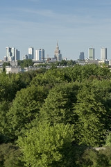 City panorama from hill, Warsaw, Poland