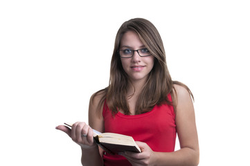 student with glasses reading