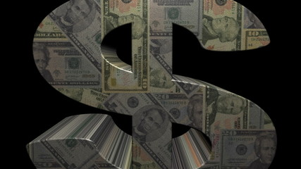 Dollar symbol with dollars mosaic currency animation