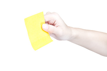 Hand and Post-it isolated on white