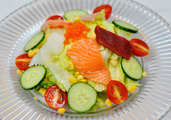 Salmon and caviar salad