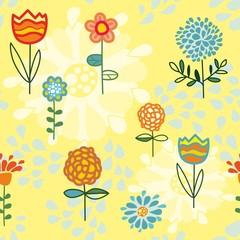 бесшовный узор цветы и листья