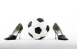 classic soccer ball with high heels