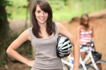 Teenage girls on a bike ride