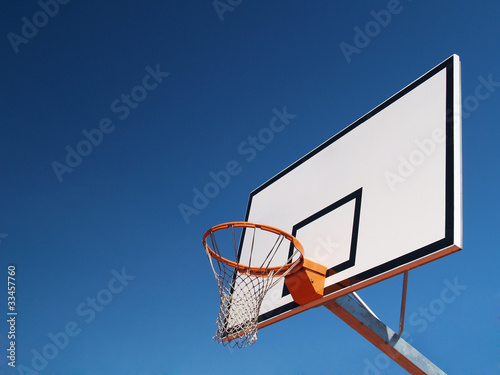 Array of basketball against the sky