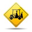 Señal amarilla simbolo Golf cart