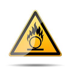 Senal peligro amarilla simbolo oxidizing liquids