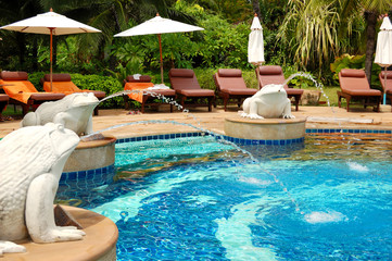 Swimming pool at modern luxury hotel, Samui island, Thailand