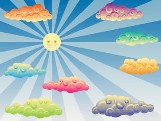 happy sun and colorful curly clouds