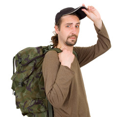 portrait of a man with backpack isolated on white background
