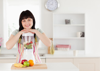 Attractive brunette woman posing with a mixer while standing