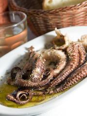 marinated octopus house wine crusty bread Greece food