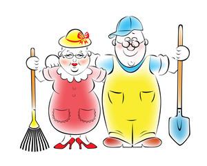 Иллюстрация пожилой пары