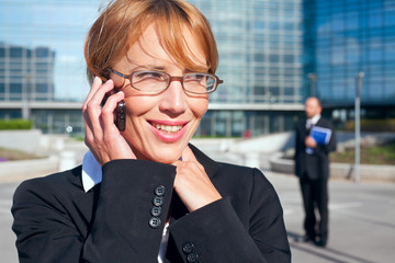 businesswoman having a phone conversation