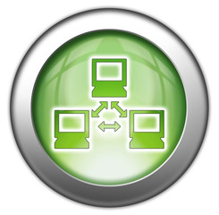"Green glossy 3D effect button ""Network"""