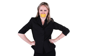 Woman with sealed mouth