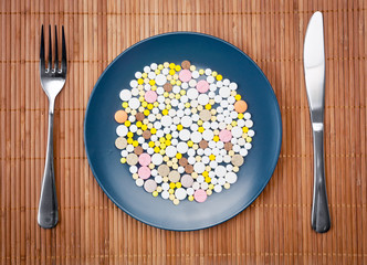 Plate with pills