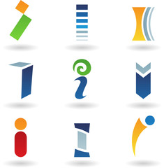 Vector illustration of abstract icons based on the letter I
