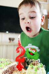 child and birthday two year - blowing candle