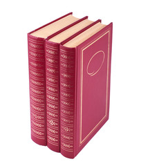 Vertical stack of three red books isolated over white