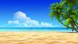 Leinwanddruck Bild - Palms on empty idyllic tropical sand beach