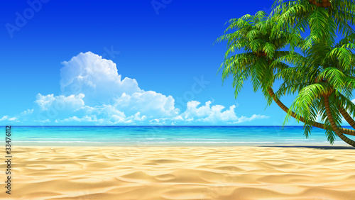 Keuken foto achterwand Strand Palms on empty idyllic tropical sand beach