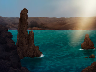 digital painting of stone formations in an archipelago