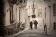 Retro photo of old narrow  street