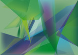 polygons abstract green and blue background poster