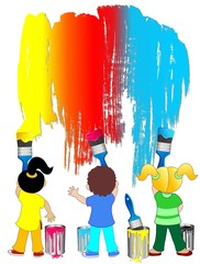 Bambini con Pennelli e Colori-Children with Brushes and Colors
