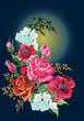 poppy, rose and jasmine flowes decoration