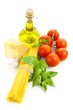 Ingredients for Italian cooking: olive oil, basil, tomato, parme