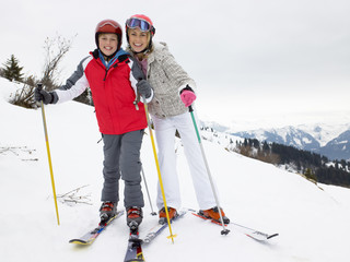 Young Mother And Son On Ski Vacation