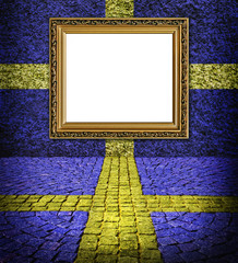Swedish flag style Elegant frame on blue wall with  yellow paint