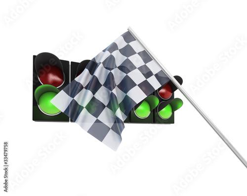 Zielflagge und Ampel mit Freistellungspfad