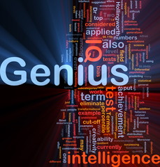 Genius intelligence background concept glowing
