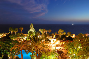 Recreation area with swimming pools and beach of luxury hotel du