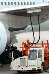 Aircraft being serviced