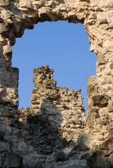 Old castle ruins in Transcarpathian Ukraine village Seredne