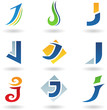 Vector illustration of abstract icons based on the letter J