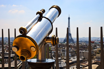 Telescope with Eiffel Tower