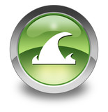 "Green Glossy Pictogram ""Tsunami"""