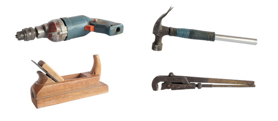 Set of isolated old tools