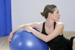 aerobics fitness woman relax pilates stability blue bal